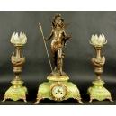 Zegar z dwoma lampami, August Moreau, Secesja.