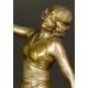 TANCERKA, art déco, brąz, Ch. MULLER, Francja, lata 20. XX w.
