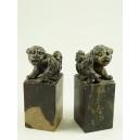 PARA PIECZĘCI Z PSAMI FOO, kamień, Chiny, XIX/XX w.