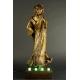 """""""NA SCENIE"""" Rzeźba-Lampa, L.Toille, N. Alliot, cynkal brązowiony, secesja, 1905r."""