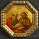Olej na blasze cynowej. Rosja, XIXw. 45,5cm x 45,5cm.