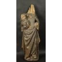 MATKA BOŻA Z DZIECIĄTKIEM, drewno, gotyk, XV w.
