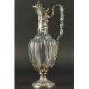 KARAFKA DO WINA, szkło, srebro, Francja, 2 poł. XIX w.
