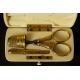 PRZYBORNIK DO SZYCIA, srebro złocone, kość, Francja, 2 poł. XIX w.
