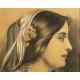 Portret dziewczyny, rysunek, C. Jullemier, akademizm, Francja, 1860 r.