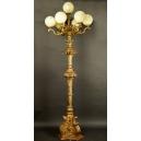 MONUMENTALNA LAMPA, drewno, mosiądz, koniec XIX w.