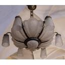 LAMPA WISZĄCA, szkło, mosiądz srebrzony, art deco, lata 20-30. XX w.