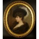 DAMA W FUTRZE, sygnowany, pastel, koniec XIX w.