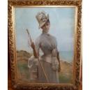 NA SPACERZE, A. Moreau, pastel, koniec XIX - początek XX w.