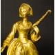 +DAMA Z PARASOLEM, brąz złocony, Francja, 2 poł. XIX w.
