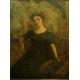 PORTRET, A. de Bourgade, olej na płótnie, art deco, lata 30. XX w.