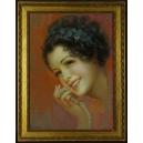 Piękna Pani z perłami. Pastel. 66,5cm x 51,5cm