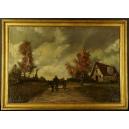 Wiejski krajobraz. Wczesny Paul Michel Dupuy? Olej na płótnie. 77,5cm x 55cm.