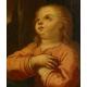Matka Boska z Dzieciątkiem. Barok XVIIIw. Olej na płótnie.  ok. 110cm x ok. 95cm