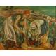 Winobranie. Paul Braig. Olej na płótnie. 95cm x 78cm