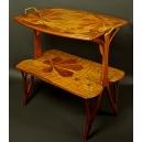 Intarsjowany stolik secesyjny. 77cm x 77,5cm x 50cm