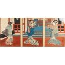 +TRYPTYK ukiyo-e z gejszami, Kunisada Utagawa (1786-1865), Japonia, era Edo, 1836-38 r.