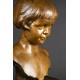 +POPIERSIE DZIEWCZYNKI, brąz, Albert Jouanneault (1888 - 1944), art deco, Francja, 1916 r.