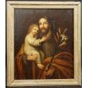 JÓZEF Z DZIECIĄTKIEM JEZUS, olej na płótnie, XIXw.