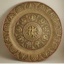 PATERA REPUSOWANA (41 cm), INDIE, XIX / XX w., (miedź, mosiądz, srebro)